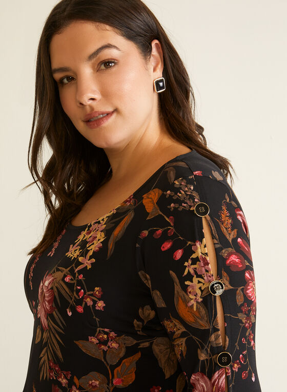 Floral Flare Sleeve Blouse, Black