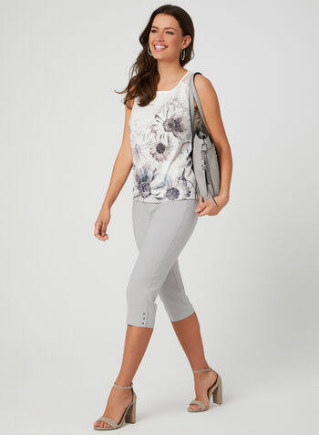 Capri pull-on en bengaline, Gris, hi-res,  capri, pull-on, jambe droite, pinces, bengaline, printemps 2019