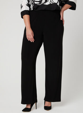 Frank Lyman - Wide Leg Pull On Pants, Black, hi-res,