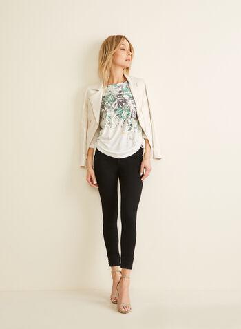 Jeans à jambe étroite et détails coutés, Noir,  printemps été 2020, jeans, jambe étroite, taille haute, ourlet replié, clous