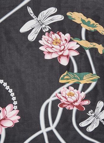 Foulard imprimé fleurs de lotus et libellules, Noir, hi-res