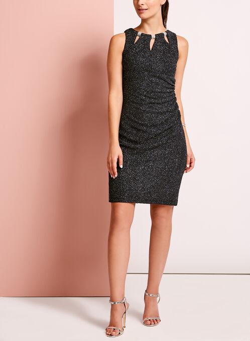 Embellished Glitter Crepe Knit Dress, Silver, hi-res