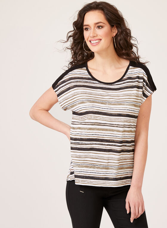 Short Sleeve Boat Neck T-Shirt, Black, hi-res