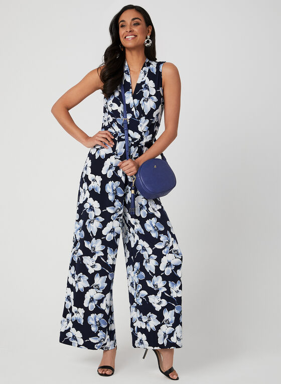 Floral Print Wide Leg Jumpsuit, Blue, hi-res