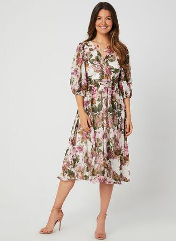Floral Print Chiffon Dress, Brown, hi-res,  day dress, floral print, chiffon, bubble sleeves, elbow sleeves, V-neck, fall 2019, winter 2019