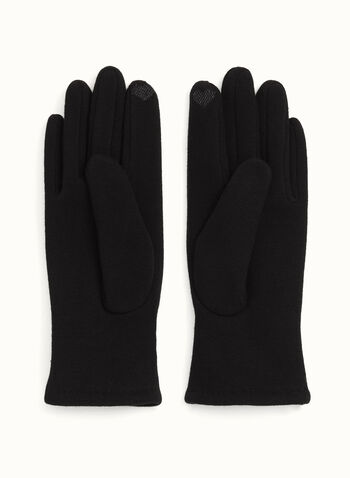 Smart Touch Knit Gloves, Black, hi-res