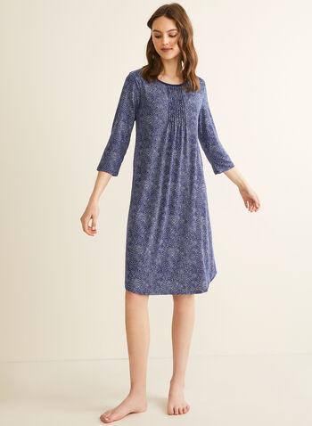 Claudel Lingerie - Chemise de nuit manches ¾, Bleu,  printemps été 2020, chemise de nuit, pyjama, Claudel Lingerie