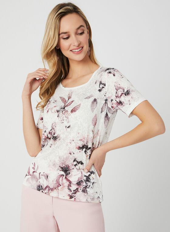 Floral Print Burnout T-Shirt, Red