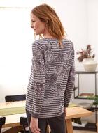 Floral & Stripe Print Sweater, Purple