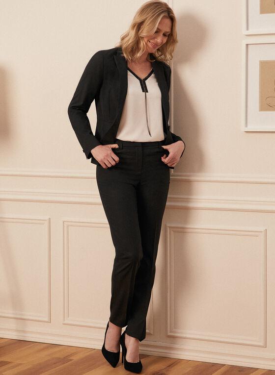 Louben - Pinstripe Print Peak Collar Jacket, Black