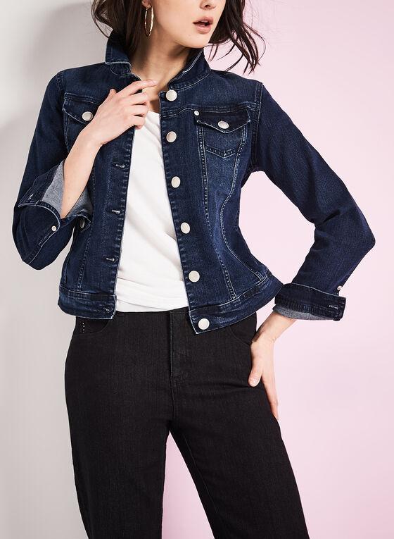 Notch Collar Denim Jacket, Blue, hi-res