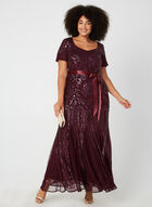 Sequin Mesh Dress, Purple