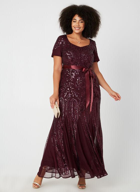 Sequin Mesh Dress, Purple, hi-res