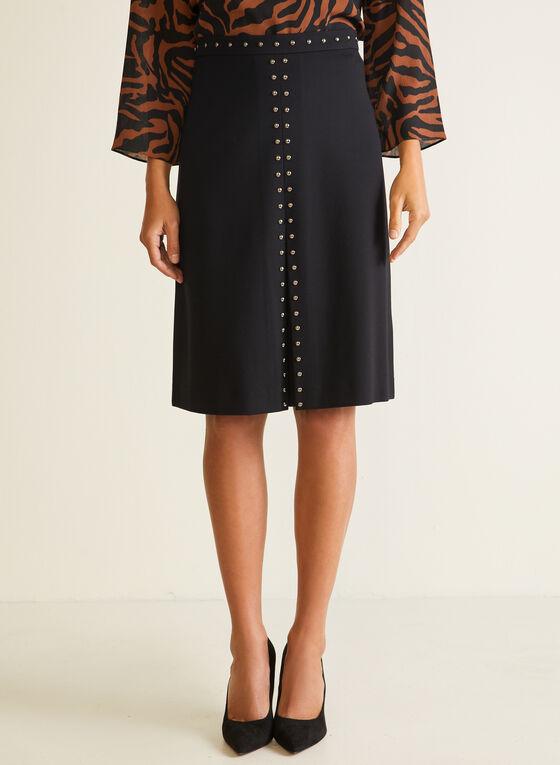 Stud Detail Straight Skirt, Black