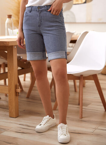 Charlie B - Striped Denim Shorts, Blue,  spring summer 2021, bottoms, made in Canada, mid rise, zipper, buttoned, metal rivets, rolled cuffs,