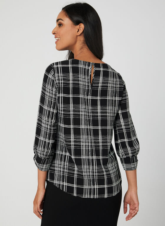 Plaid Print Crepe Blouse, Black