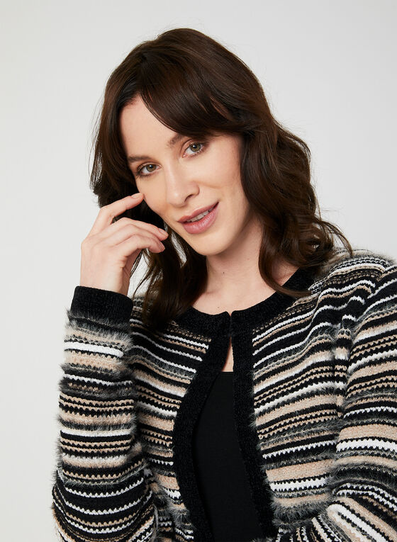 Stripe Print Cardigan, Black