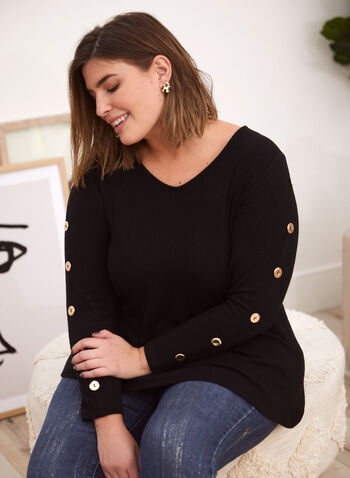 Button Detail Long Sleeve Top, Black,  made in Canada, top, blouse, long sleeves, v neck, buttons, fall winter 2021