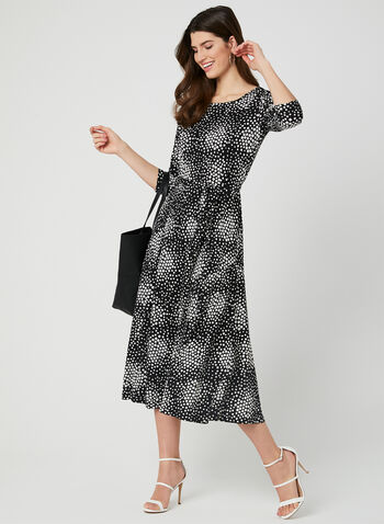 Geometric Print Jersey Dress, Black,  textured, jersey, 3/4 sleeves, fit and flare, spring 2019