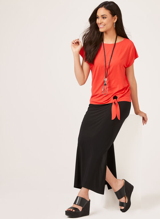 Jersey Pull-On Maxi Skirt , Black, hi-res