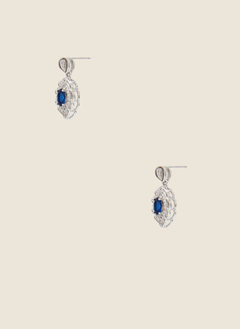 Filigree Cutout Earrings, Blue,  earrings, filigree, cutout, faceted, stone, fall winter 2020