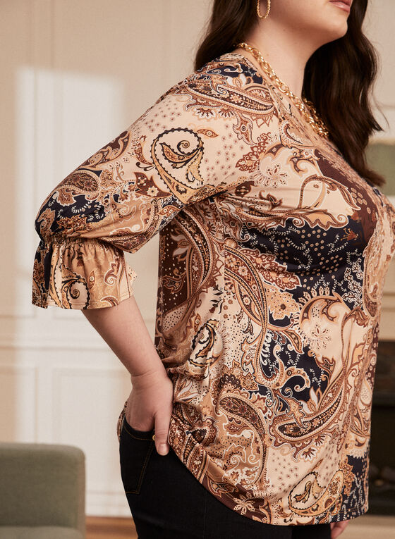 Paisley Print Ruffle Sleeve Blouse, Brown
