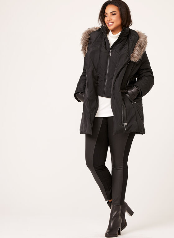 Northside - Faux Leather Detail Coat, Black, hi-res