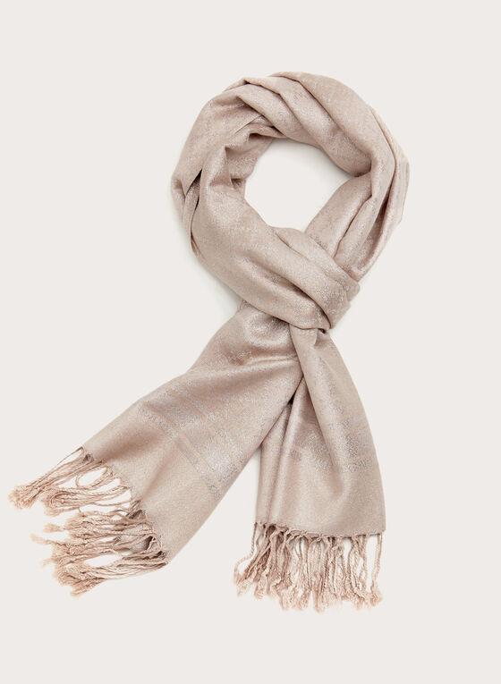 Foulard à franges avec motif losanges en lurex, Rose, hi-res