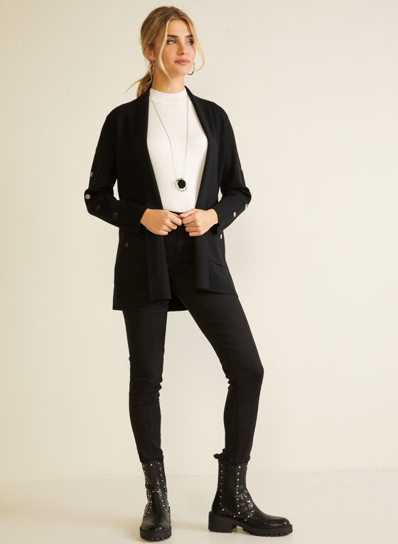 Metallic Button Open Cardigan, Black