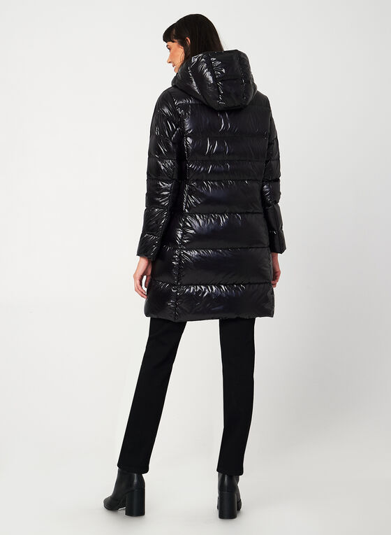 Manteau matelassé en duvet à capuchon, Noir