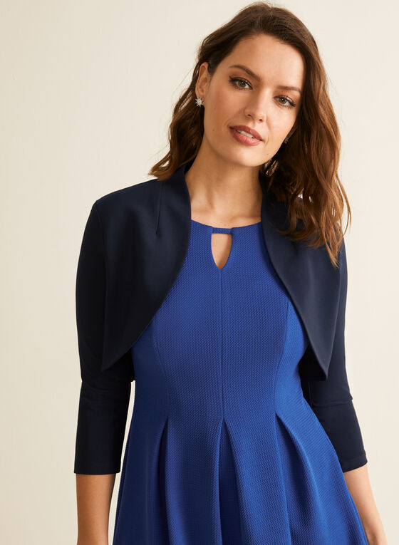 3/4 Sleeve Open Front Bolero, Blue