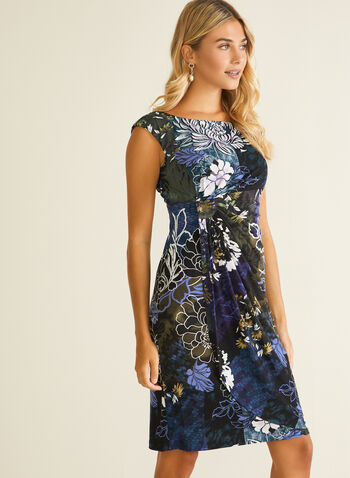 Floral Print Drape Effect Dress, Purple,  day dress, jersey, cap sleeves, floral, drape, fall winter 2020