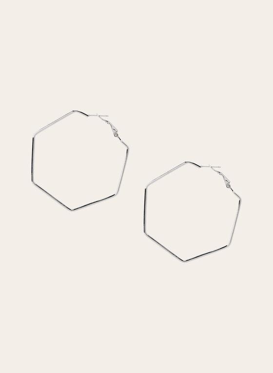 Boucles d'oreilles créoles hexagonales, Argent, hi-res