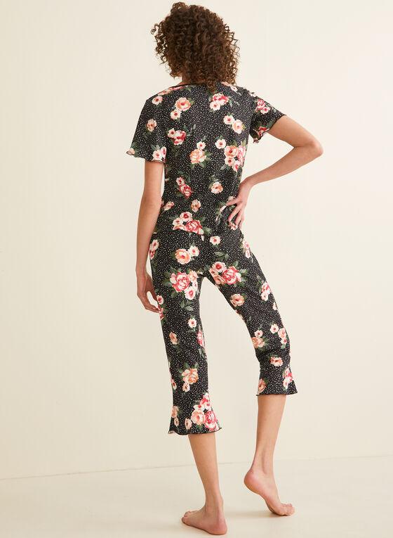 Hamilton - Pyjama 2 pièces tacheté et fleurs, Noir