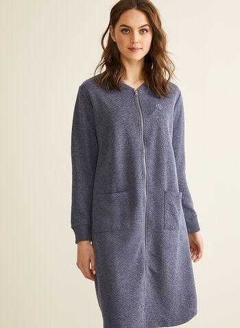 Claudel Lingerie - Peignoir à fermeture zip, Bleu,  printemps été 2020, peignoir, pyjama, Claudel Lingerie