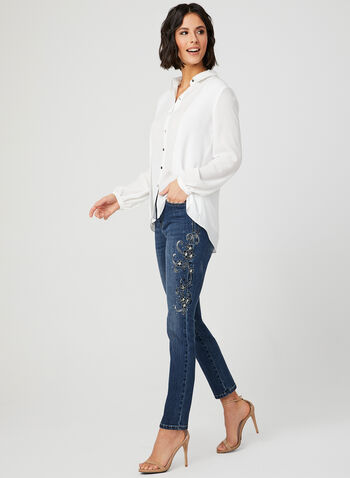 Long Sleeve Crepe Blouse, Off White, hi-res