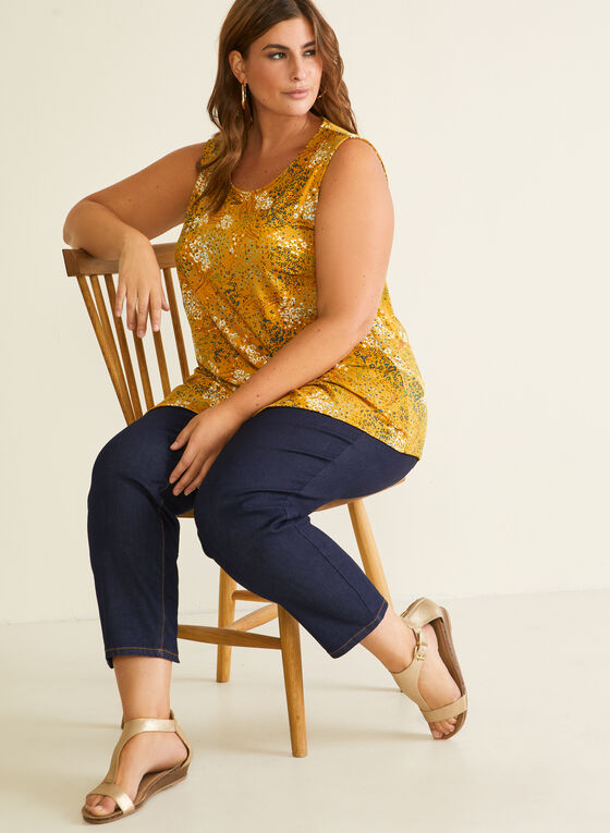 Floral Print Asymmetric Top, Yellow