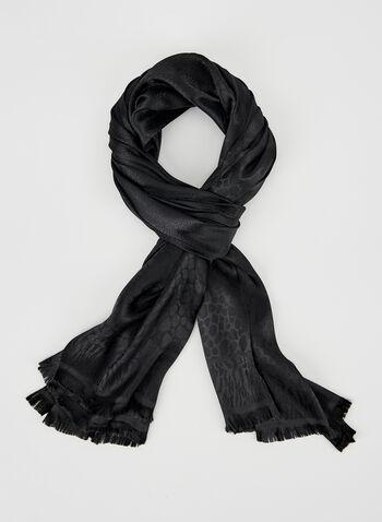 Foulard en jacquard à motif mosaïque, Noir, hi-res