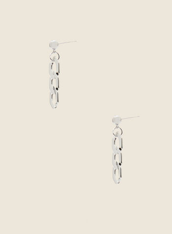 Chain Link Dangle Earrings, Silver,  spring 2021, jewelry, jewellery, earrings, accessories, dangle, three tier, 3 tier, silver tone metallic, chain link