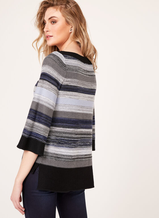 Stripe Print Boat Neck Sweater, Blue, hi-res