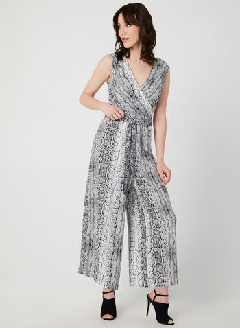 Emma & Michele - Snake Print Jumpsuit, Grey, hi-res,  sleeveless, wide leg, cropped, fall 2019, winter 2019, jersey