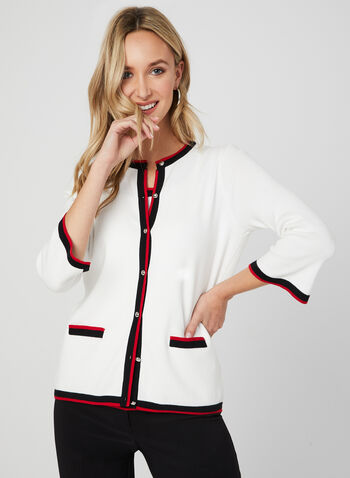 Button Down Knit Cardigan, White, hi-res,