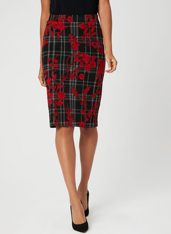Floral Plaid Print Knit Skirt, Black, hi-res