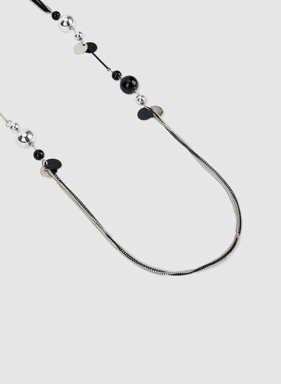 Collier sautoir avec détails perles, Noir, hi-res