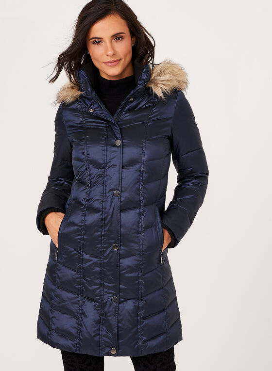 Quilted Nylon Down Filled Coat, Blue, hi-res
