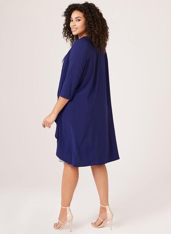 Robe à plis accordéon avec veste à volants , Bleu, hi-res