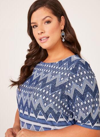 Robe à manches coude et motif aztèque, Bleu, hi-res