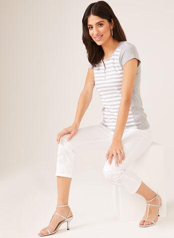 T-shirt rayé en coton avec zip au col, Gris, hi-res