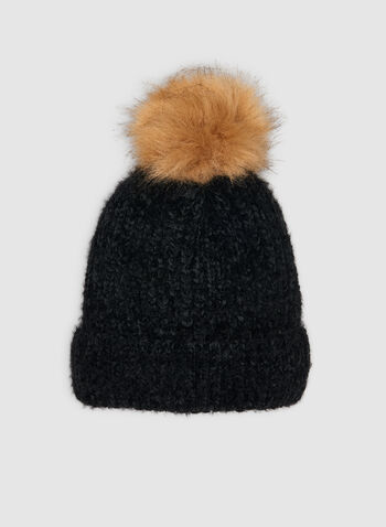 Yarn Tuque , Black,  tuque, knit tuque, yarn tuque, yarn, faux fur, faux fur pompom, faux fur hat, fall 2019, winter 2019