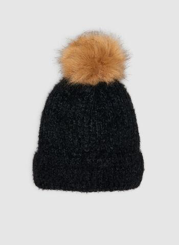 Tuque en tricot effet poilu à pompon, Noir,  tuque, pompon, tricot poilu, automne hiver 2019